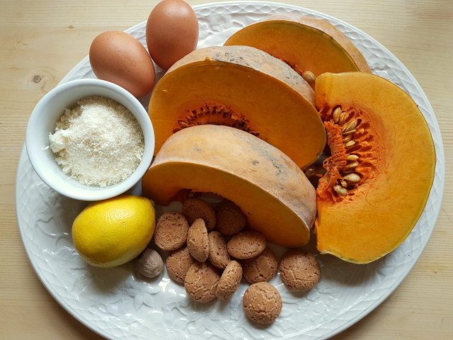 ingredients for Pumpkin Tortelli; recipe from Mantova