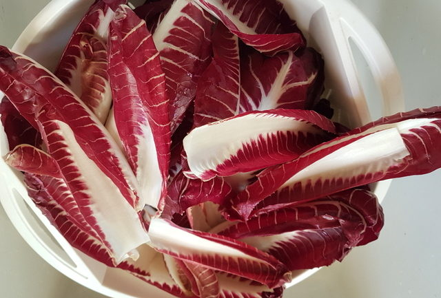 washed radicchio leaves