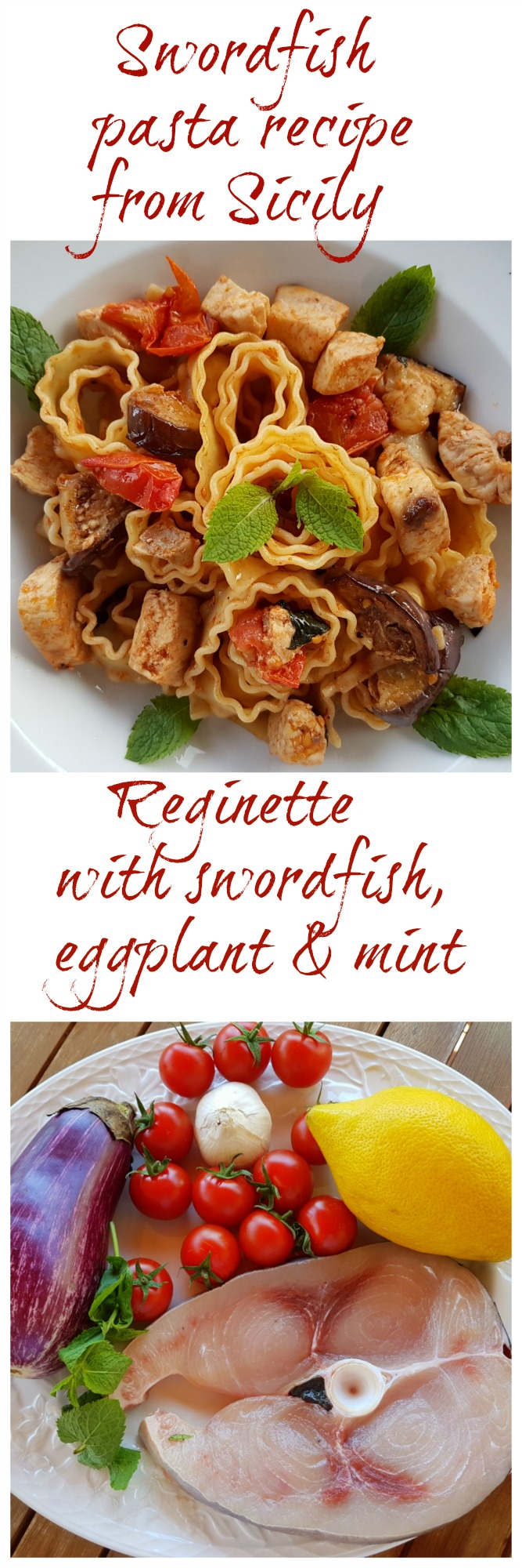 Reginette pasta with swordfish