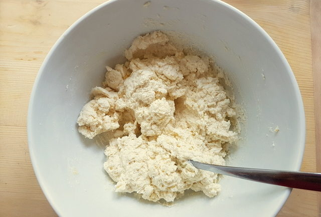 ricotta gnudi mixture in white bowl