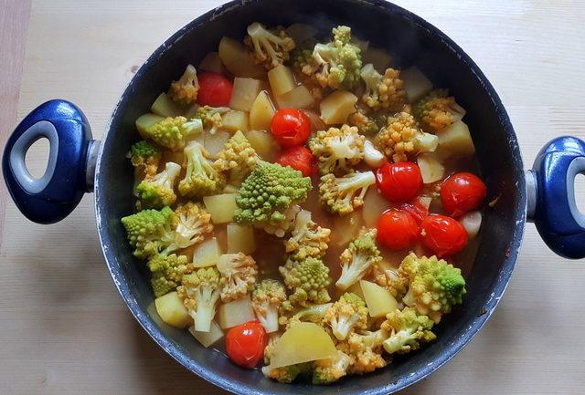 Romanesco broccoli pasta soup ingredients cooking in frying pan