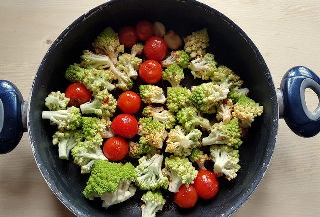 Romanesco broccoli pasta soup ingredients in frying pan