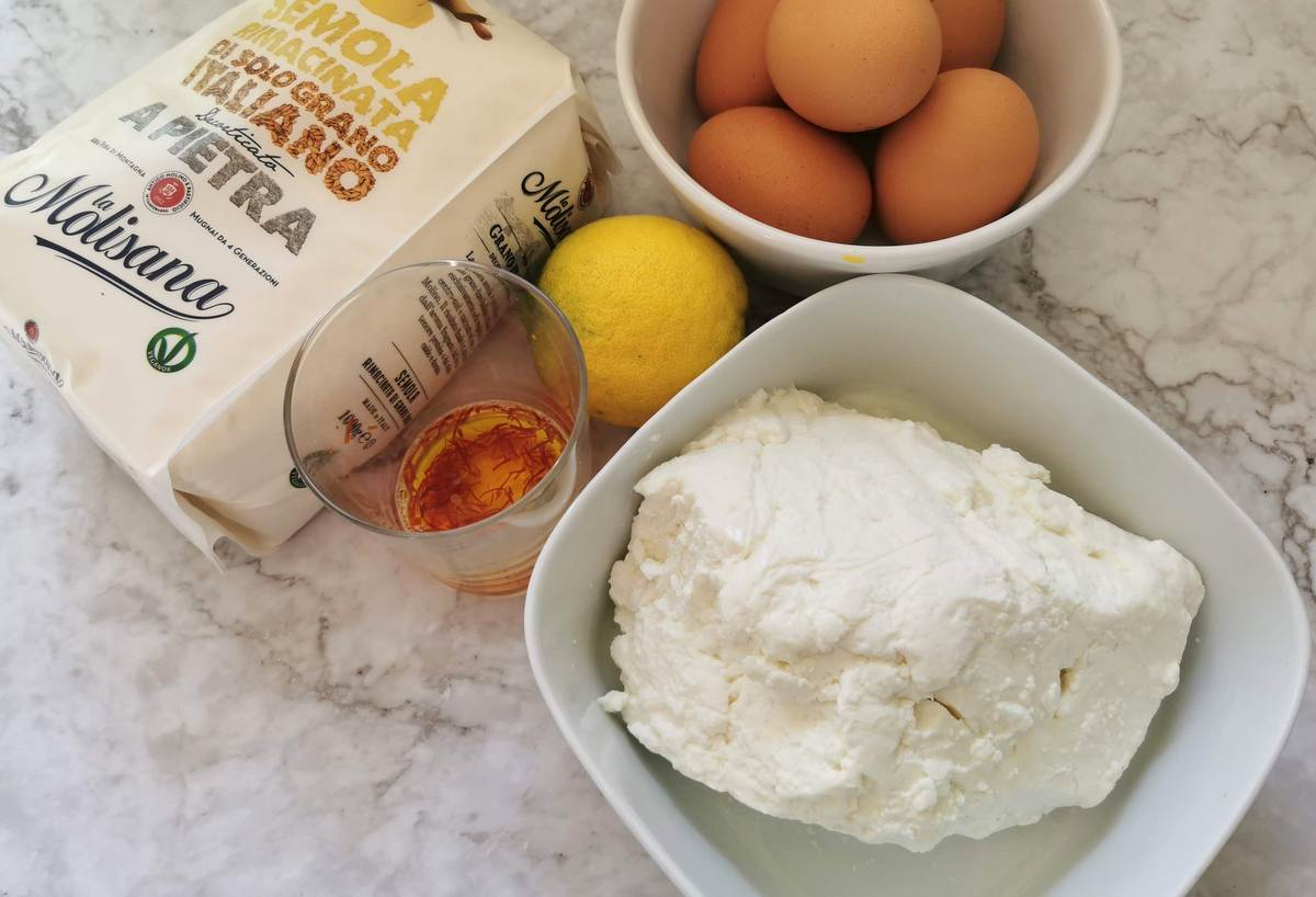 ingredients for homemade ricotta ravioli from Sardinia
