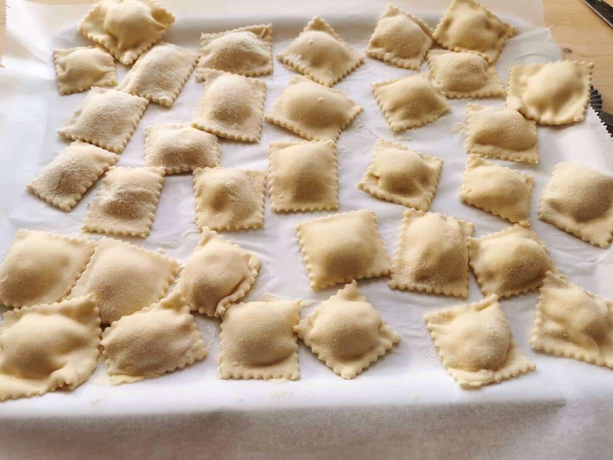 Ready ricotta ravioli on floured tray