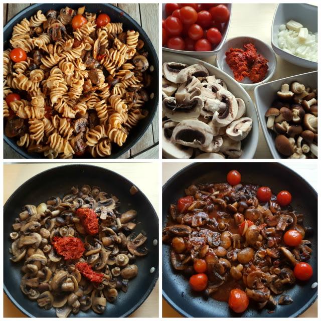 Senatore Cappelli organic whole wheat pasta with Nduja and mushrooms.