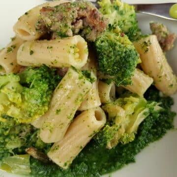 Sicilian Broccoli Pasta with Sausage and Chard. Organic Sicilian ancient grain pasta