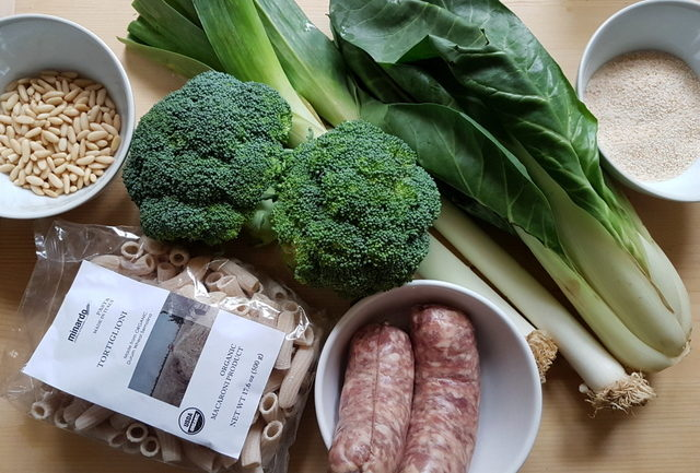 Ingredients for Sicilian Broccoli Pasta with Sausage and Chard.