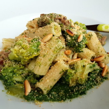 Sicilian Broccoli Pasta with Sausage and Chard. Organic Sicilian ancient grain pasta