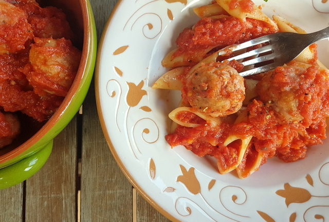 Sicilian fresh tuna meatballs with pasta