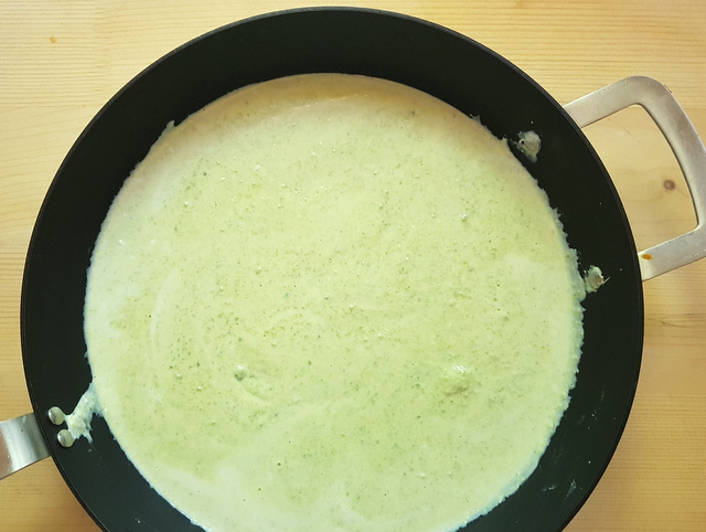 ricotta and pistachio sauce in deep frying pan