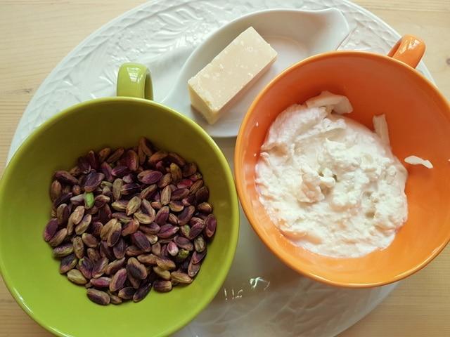 ingredients for Sicilian ricotta and pistachio pasta recipe