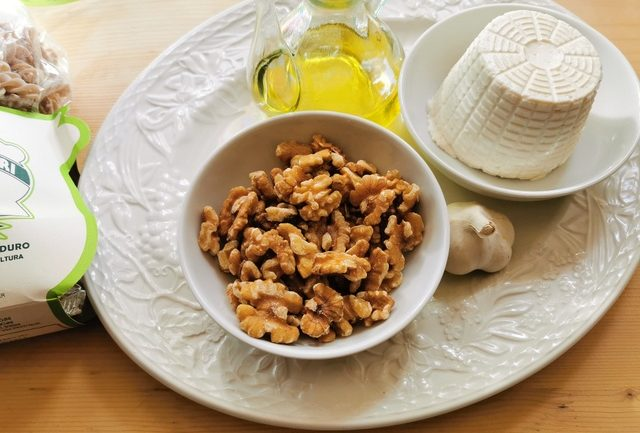 ingredients for Sicilian ricotta pasta with walnuts