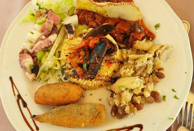 Seafood antipasto with cous cous Sicily