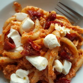 Spaccatelle pasta with Sicilian sun-dried tomato pesto and burrata