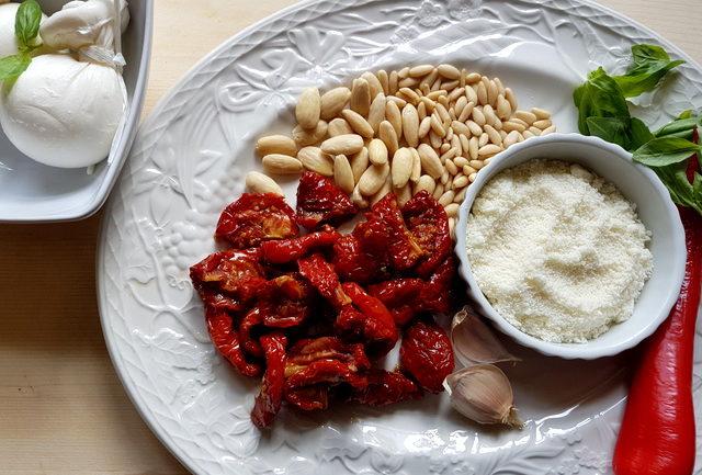 Spaccatelle pasta with Sicilian sun-dried tomato pesto and burrata