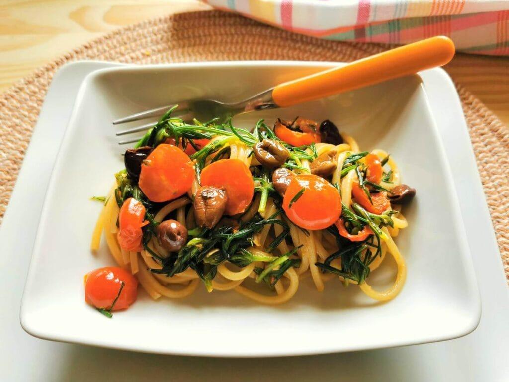 Spaghetti with Agretti (Salsola Soda).