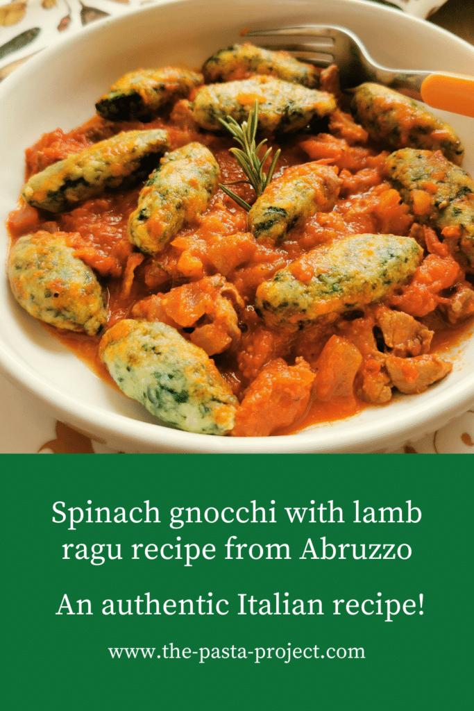 Spinach Gnocchi with Lamb Ragu Recipe from Abruzzo.