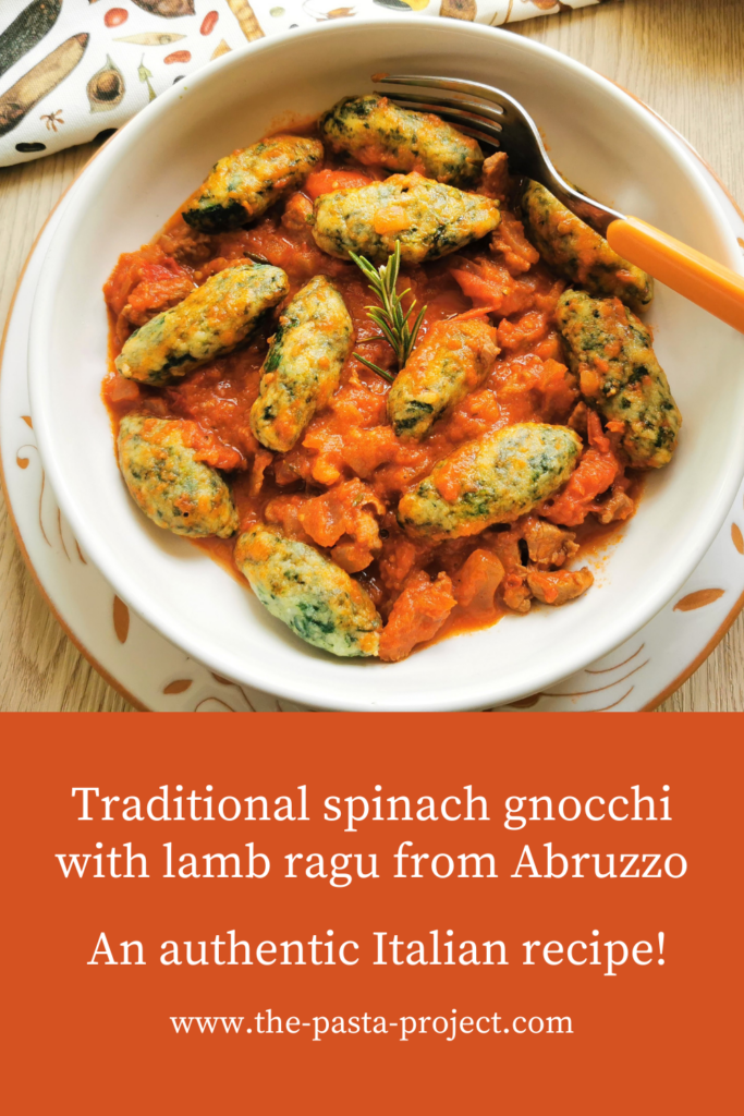 Spinach Gnocchi with Lamb Ragu Recipe from Abruzzo.