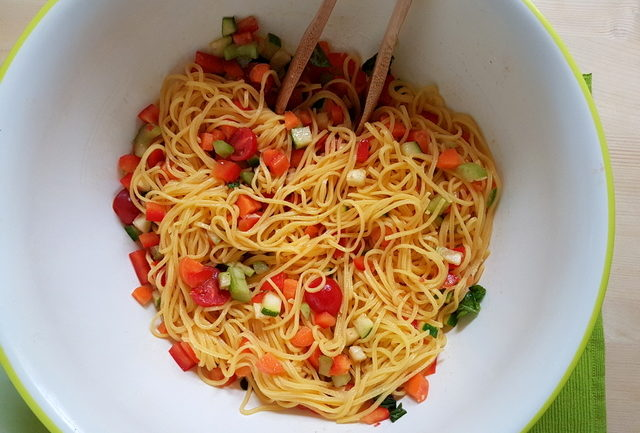 Summer Tagliolini Pasta Recipe with marinated vegetables