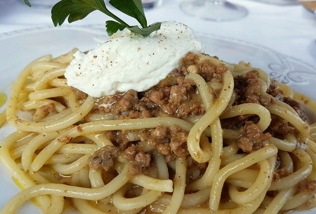 Pici pasta with wild boar ragu