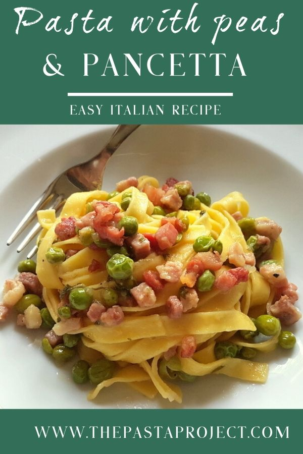 Tagliatelle pasta with fresh peas and pancetta