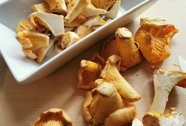 fresh golden chanterelle mushrooms cleaned and cut into pieces