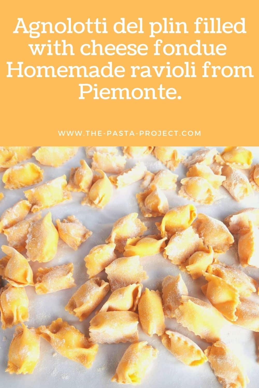 Cheese stuffed agnolotti del plin pasta recipe from Piemonte.