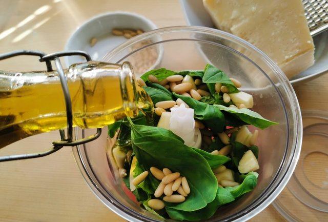 ingredients for basil pesto in food processor