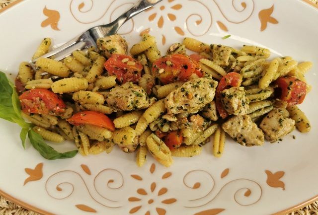 tuna and pesto malloreddus pasta from Sardinia