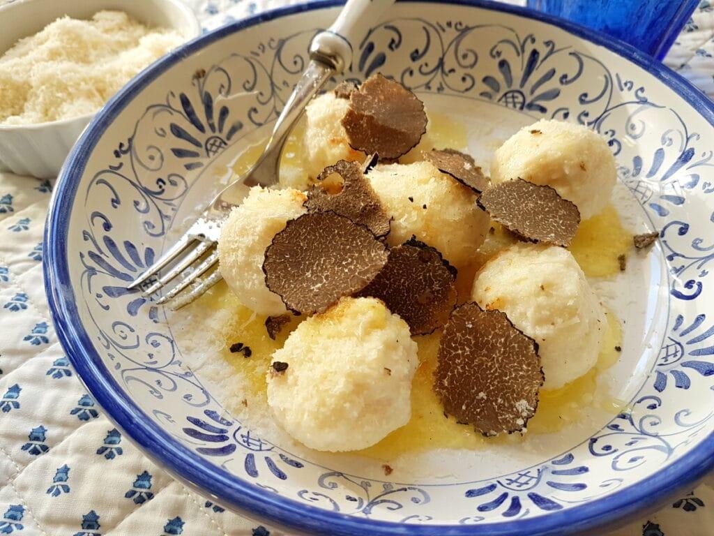 ricotta gnudi gnocchi with black truffle