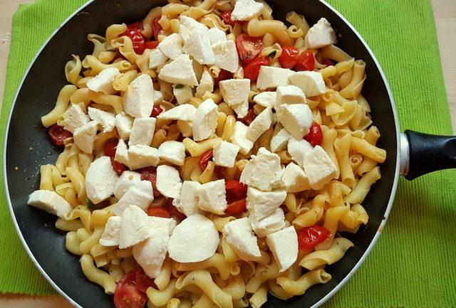 Warm Pasta Caprese with Torchio pasta