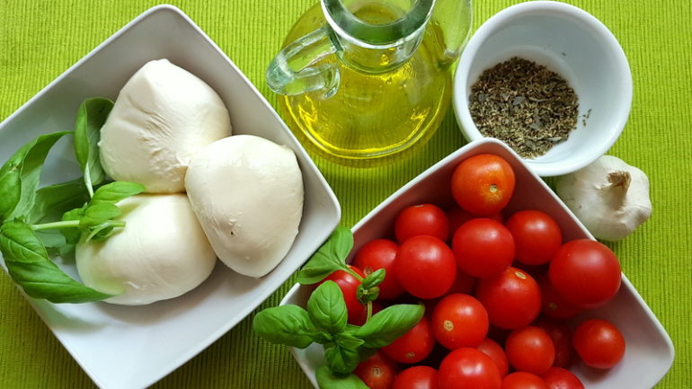 ingredients for warm pasta Caprese with torchio pasta
