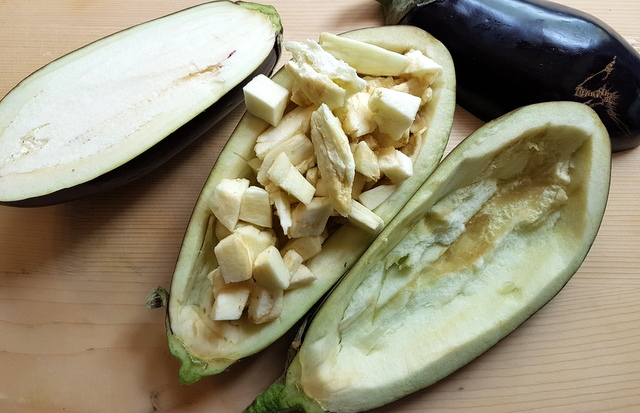 eggplants cut in half and flesh removed