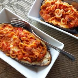 anelletti pasta eggplant boats