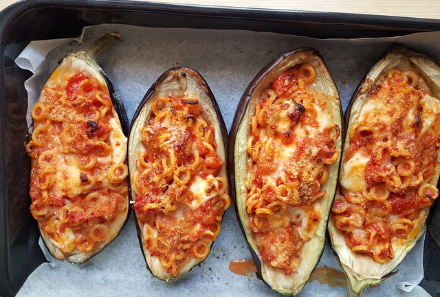 baked anelletti eggplant boats in oven dish