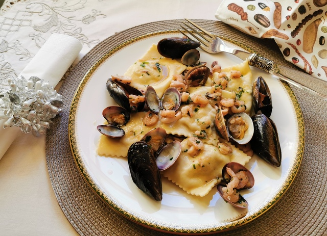 baked fish ravioli from Liguria