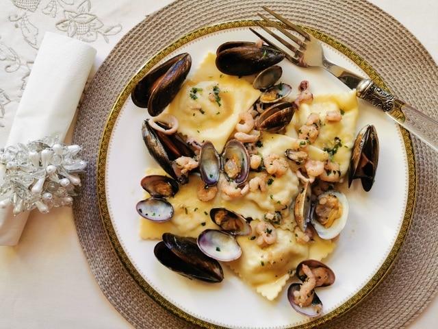 baked fish ravioli