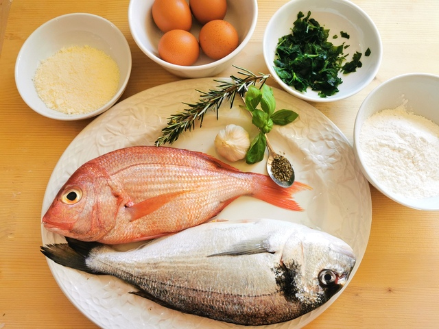 ingredients for fish ravioli