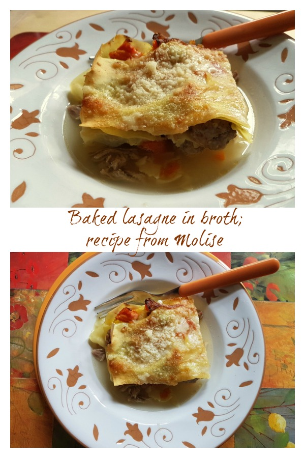 baked lasagne in broth