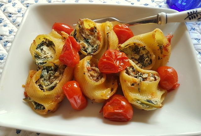 baked lumaconi pasta shells with chicory and porcini