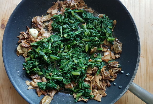 porcini mushrooms and precooked chicory in frying pan