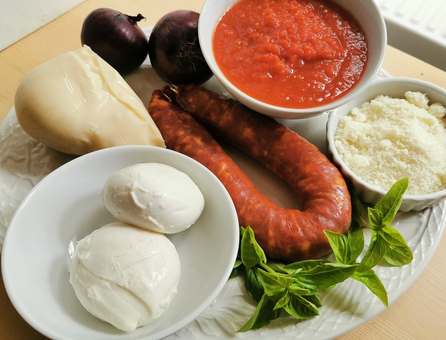 ingredients for baked ziti with spicy sausage