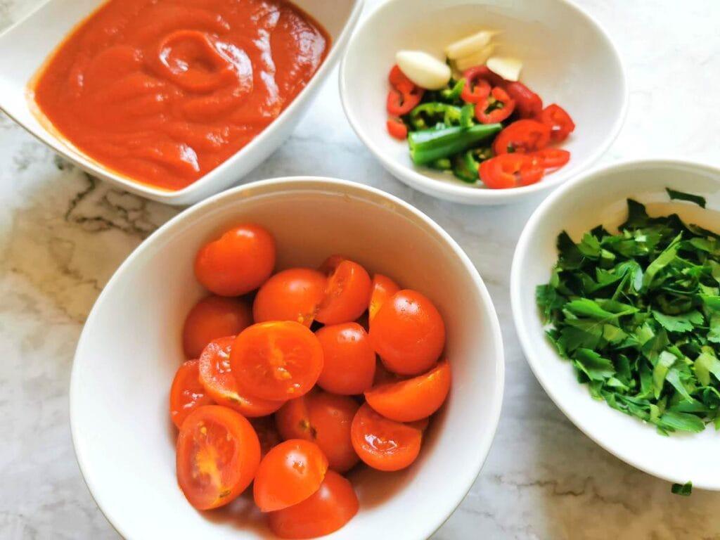 arrabbiata ingredients prepare for cooking