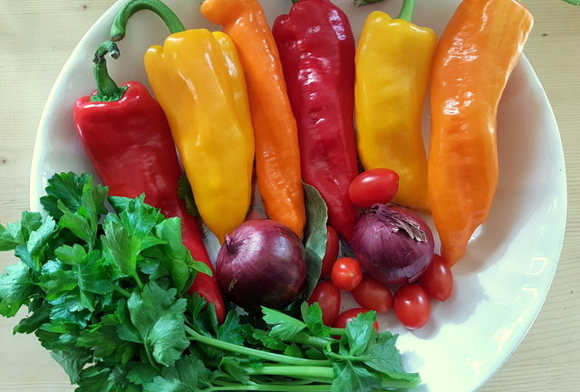 ingredients for casarecce pasta alla peperonata (sweet pepper sauce)