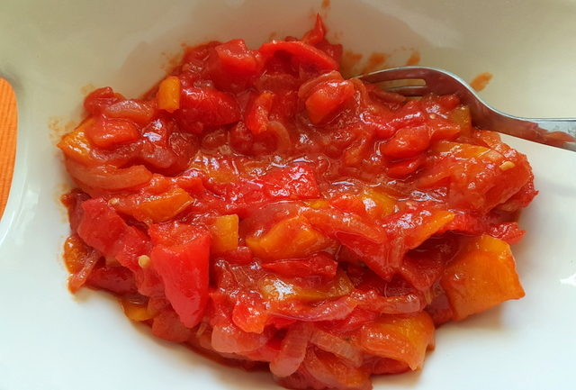 peperonata sweet pepper sauce in white bowl