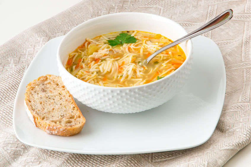Chicken noodle soup with filini pasta