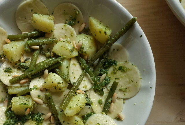corzetti pasta Liguria with pesto, potatoes and green beans