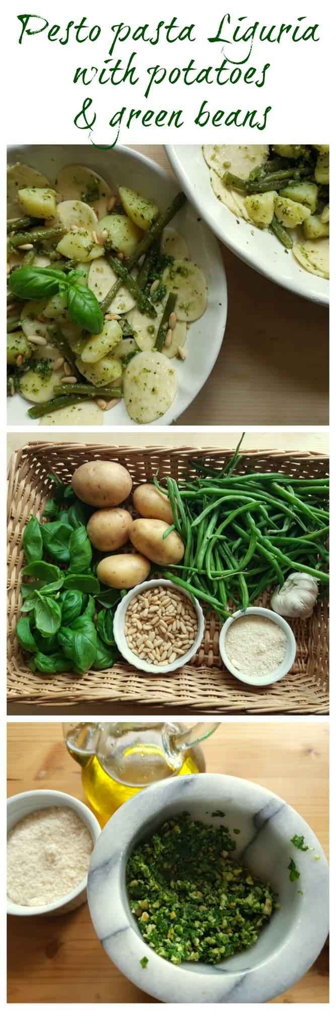 corzetti pesto pasta Liguria with potatoes and green beans