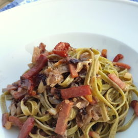 Fettuccine Pasta with speck and radicchio (Italian chicory)