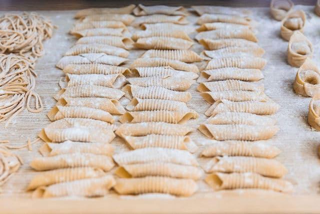 homemade garganelli pasta